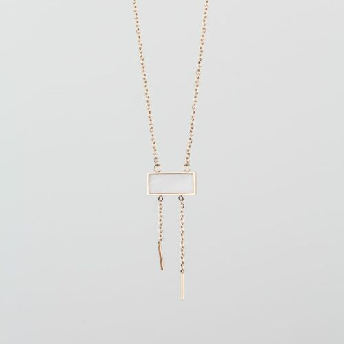 Collier Abstract (Marbre Blanc/Or Rose)