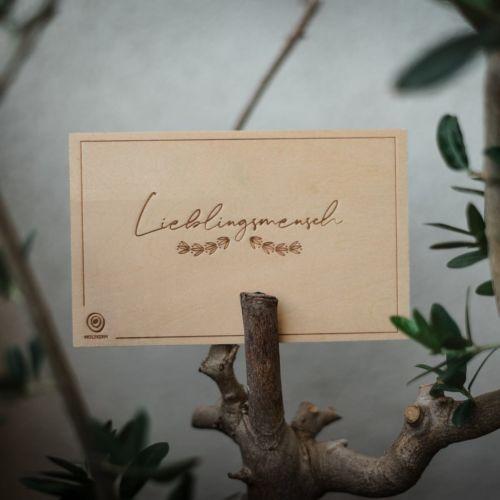 Postal de madera Lieblingsmensch
