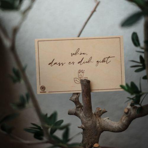 Holzpostkarte Schön, dass es dich gibt