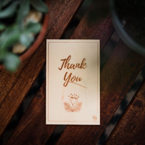 Carte de vœux en bois Thank You