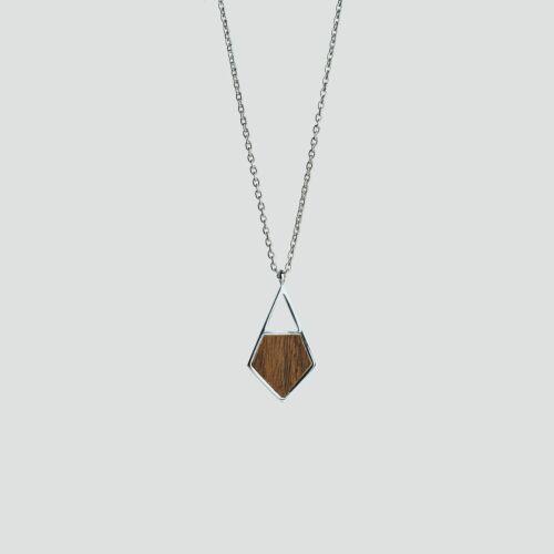 Mandala Halskette (Walnuss/Silber)