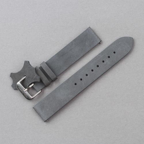 Leather wristband 18 mm (Grey-blue/Silver)