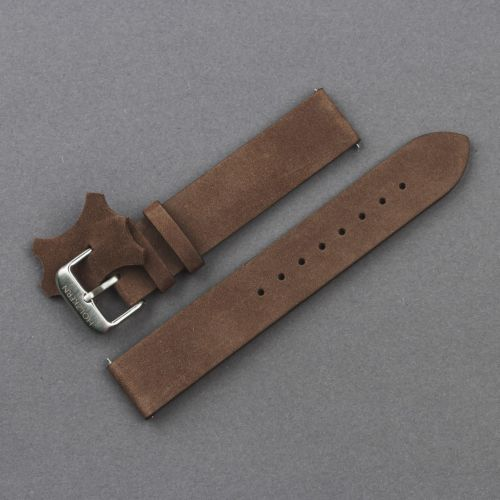 Leather wristband 18mm (Dark-brown/Silver)