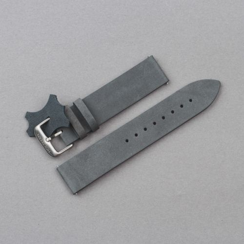 Leather wristband 20mm (Grey-blue/Silver)