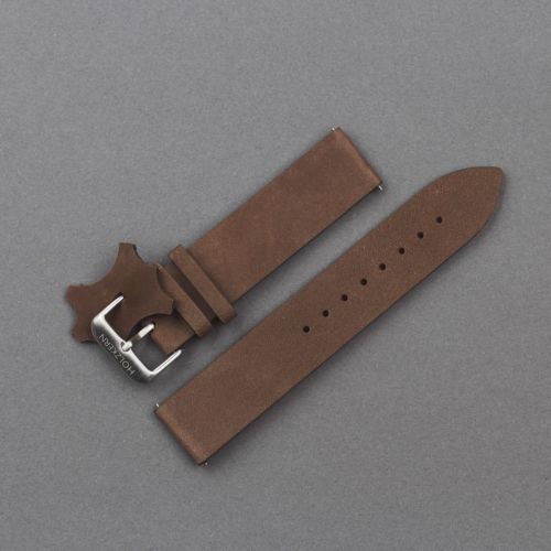 Leather wristband 20mm (Dark-brown/Silver)
