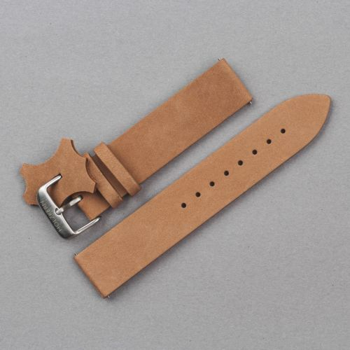 Leather wristband 20mm (Beige/Silver)