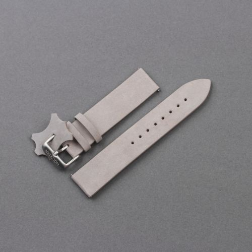 Leather Wristband 20mm (Light-grey/Silver)