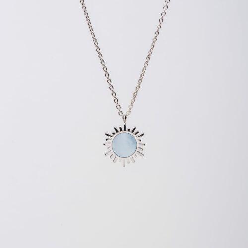 Shade Halskette (Blaues Perlmutt/Silber)