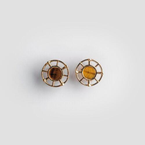 Amulett Ohrringe (Tigerauge/Gold)