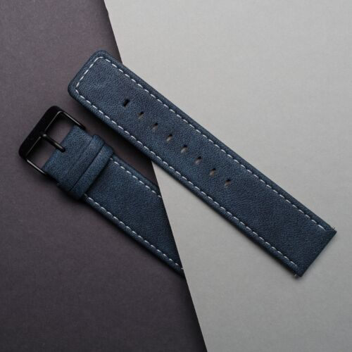 Vegan Leather Strap 22mm (Blue/Black)