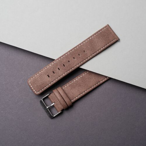 Vegan Leather Strap 22mm (Light-brown/Silver)