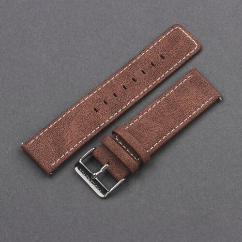Vegan Leather Strap 22mm (Dark Brown/Silver)