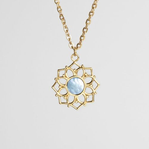 Collier Composition (Nacre bleue/Or)