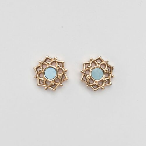 Boucles d'oreilles Composition (Nacre bleue/Or rose)