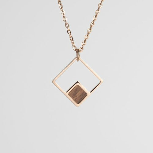 Collier Geometric (Noyer/Or rose)