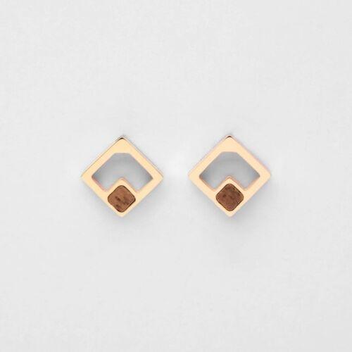 Boucles d'oreilles Geometric (Noyer/Or rose)