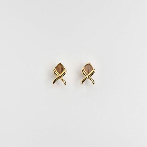 Boucles d'oreilles Mosaic (Noyer/Or)