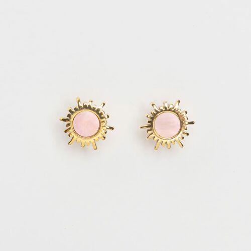 Shade Earrings (Pink Nacre/Gold)