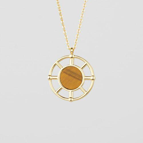 Amulett Halskette (Tigerauge/Gold)