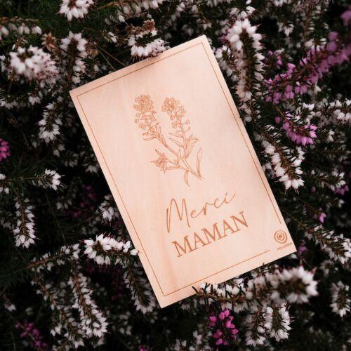 Carte de Vœux en Bois: Merci Maman