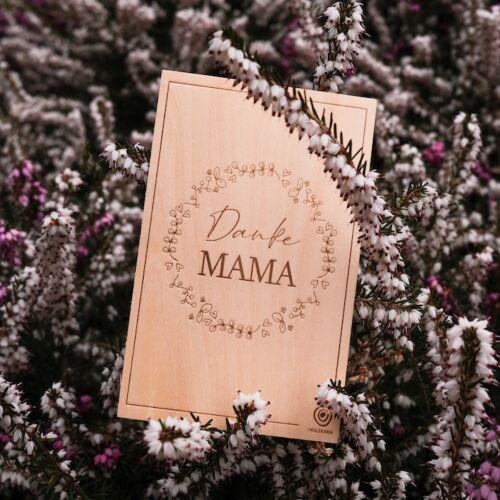 Holzpostkarte Danke Mama
