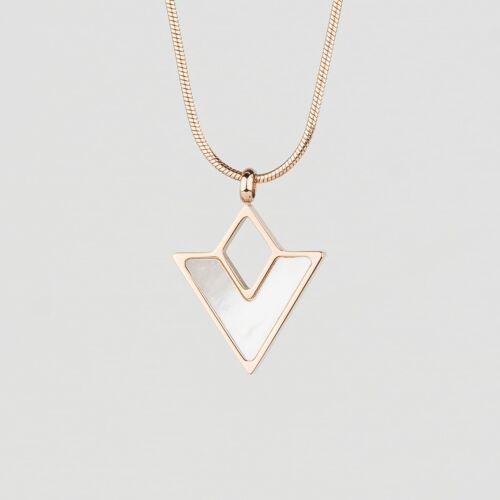 Conceptual Halskette (Weißes Perlmutt/Rosé)