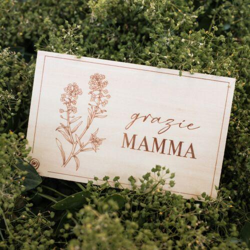Cartolina di legno Grazie Mamma
