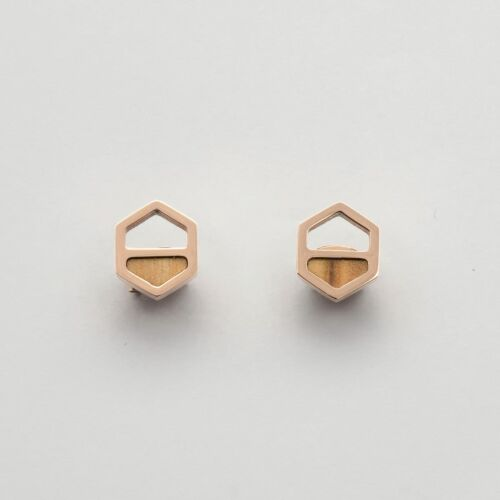 Assemblage Earrings (Olive/Rose Gold)