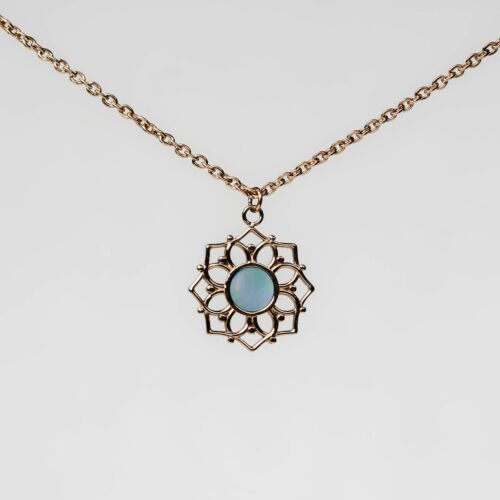 Collier Composition (Nacre bleue/Or rose)