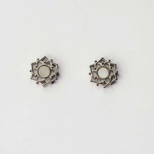 Composition Earrings (White Nacre/Silver)