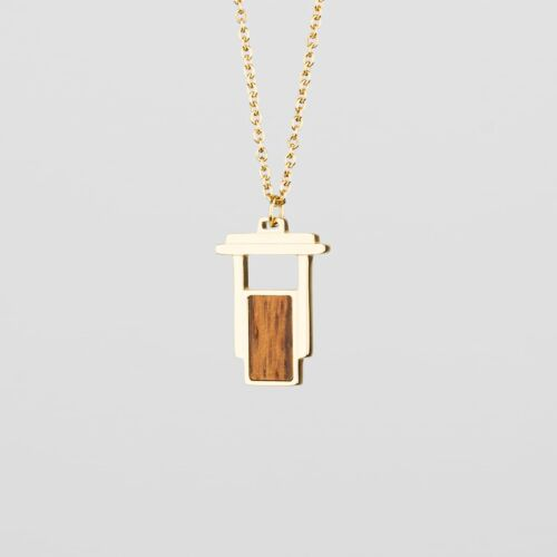 Contour Necklace (Zebrawood/Gold)