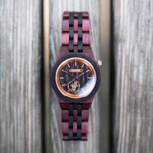 Holzuhr Diogenes der Marke Holzkern mit einem Automatik-Uhrwerk aus Amaranth & Aprikose