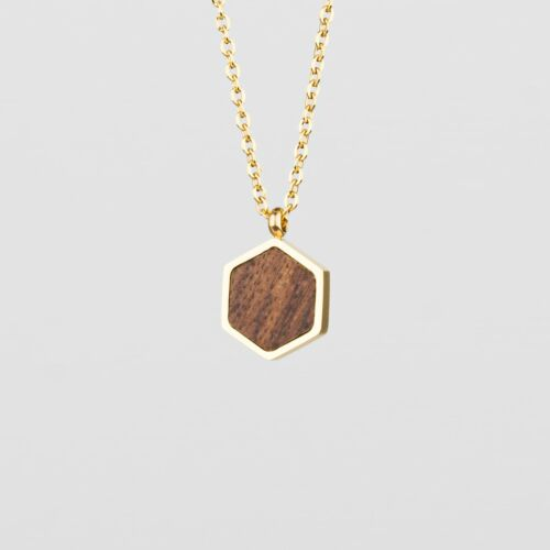Facade Necklace (Walnut/Gold)