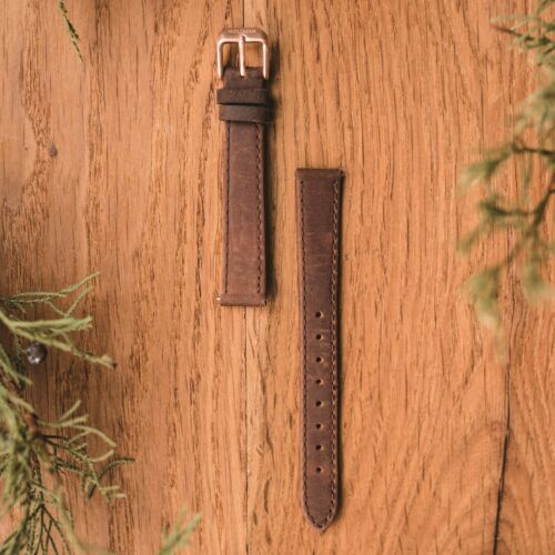 Leather Strap 14mm (Dark-Brown/Rose Gold)