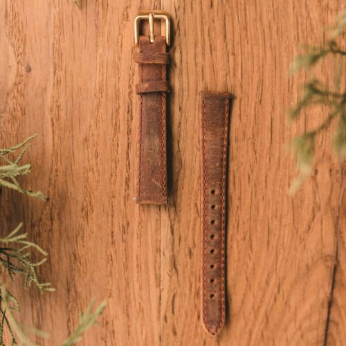 Leather Strap 14mm (Light-brown/Gold)