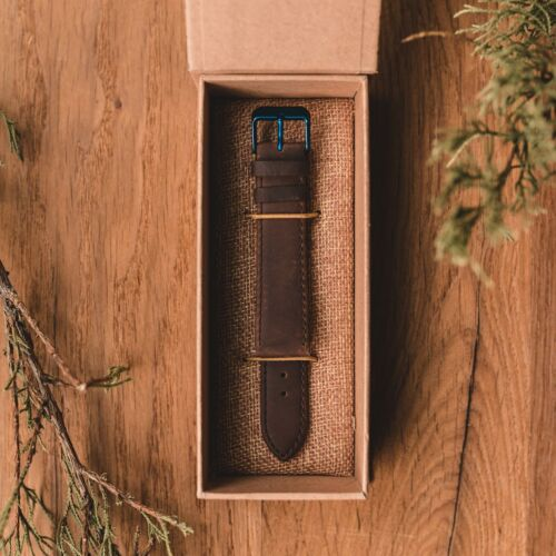 Leather strap 20mm (Dark-brown/Blue)