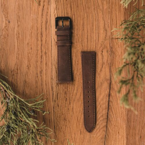 Leather strap 20mm (Dark-brown/Black)