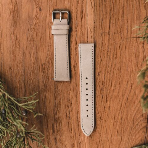 Leather Strap 20mm (Grey/Silver)