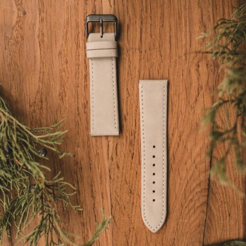 Leather strap 22mm (Grey/Grey)