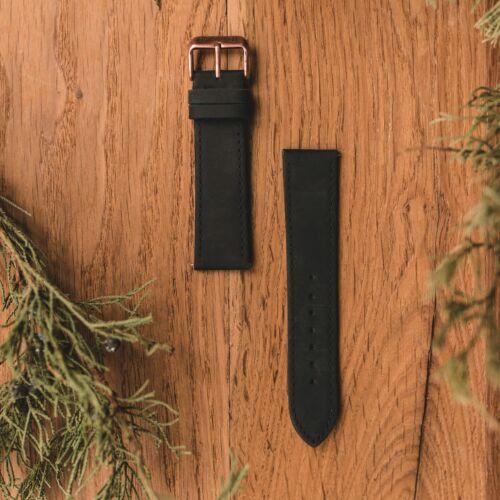 Correa de piel de 22mm (Negro/Cobre envejecido)