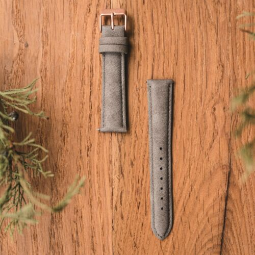 Vegan leather strap 18mm (Grey/Rose gold)