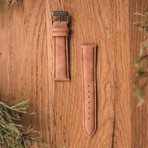 Vegan leather strap 20mm (Light-brown/Grey)