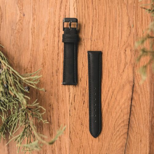 Vegan leather strap 18mm (Black/Black)