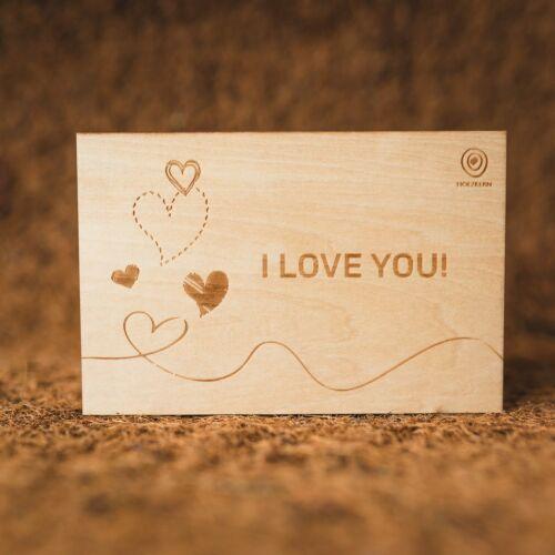 Cartolina di legno I <3 You