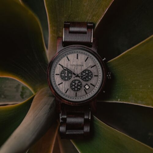 Mens wood watch Northwall made of leadwood with a rockgrey dial
