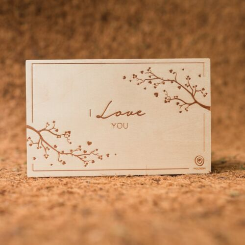 Carte de Vœux en Bois: I Love You