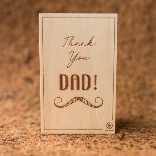 Postal de madera Dad