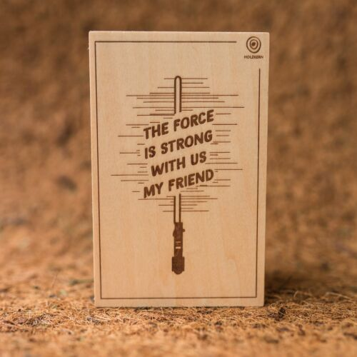 Wooden postcard The Force