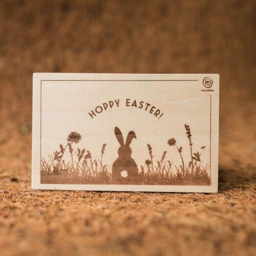 Postal de madera Hoppy Easter
