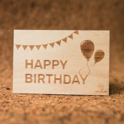 Postal de madera Happy Birthday